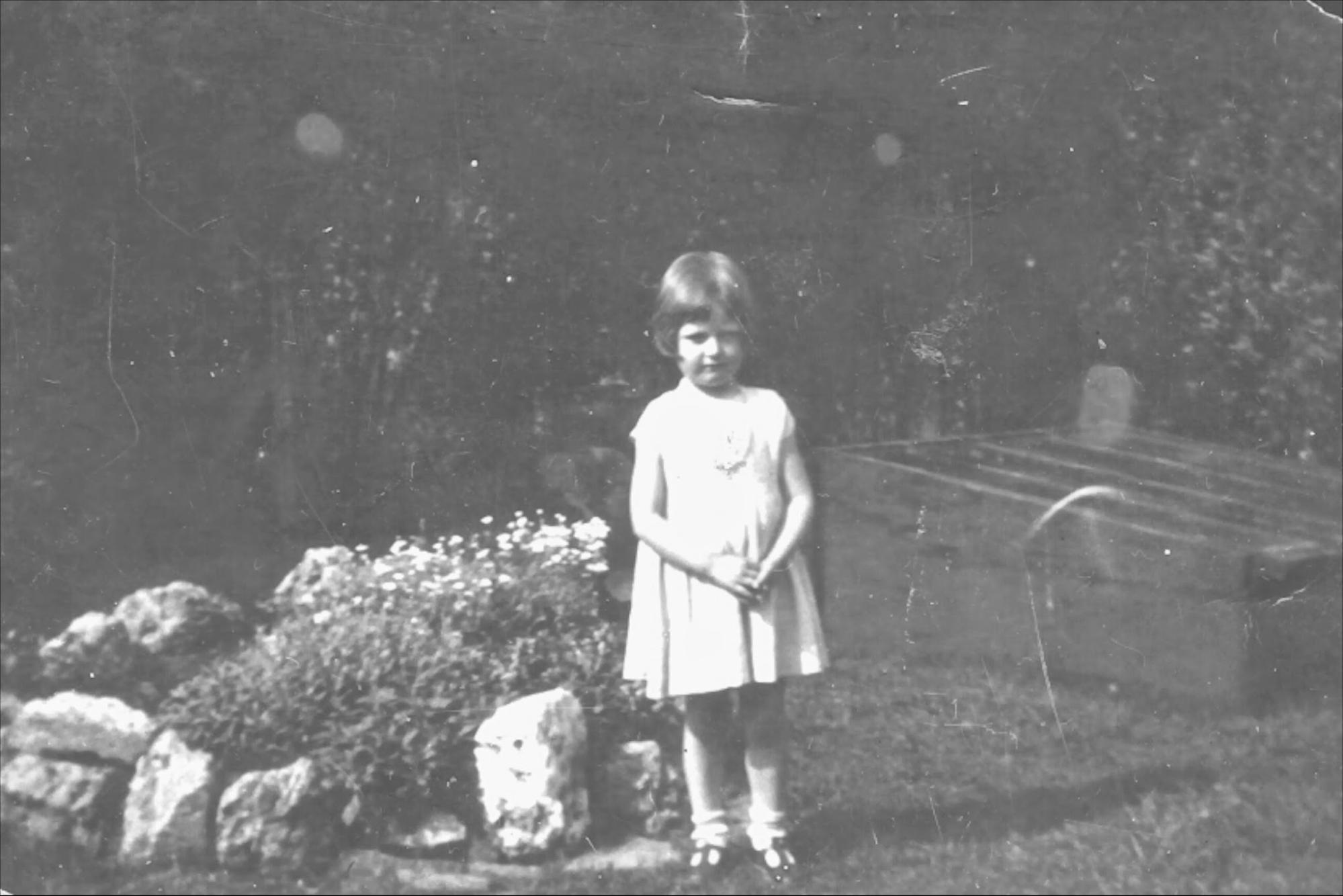 The middle picture was age 5, taken at a garden across from her parents home. Right is age 7 and left is age 25, probably in Montreal.